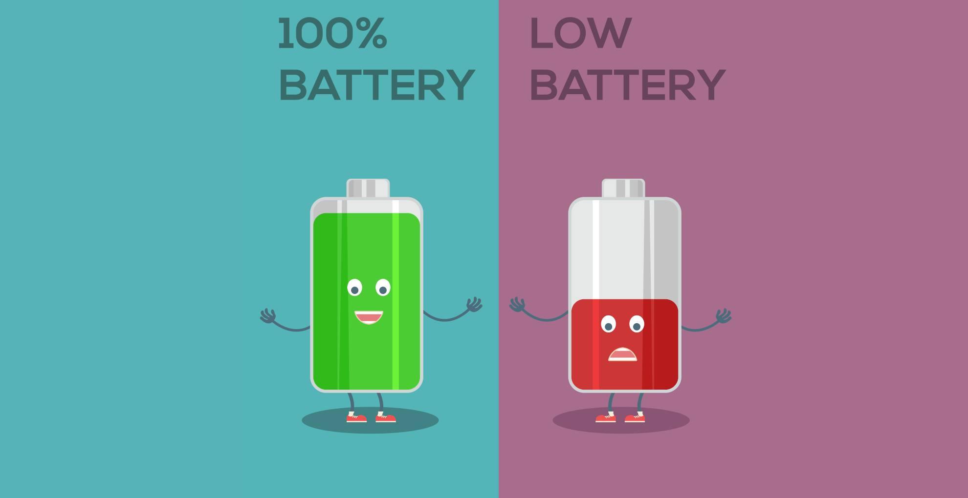 Representa dos pilas de audífono una agotada en color rojo y la otra con toda la energía en color verde