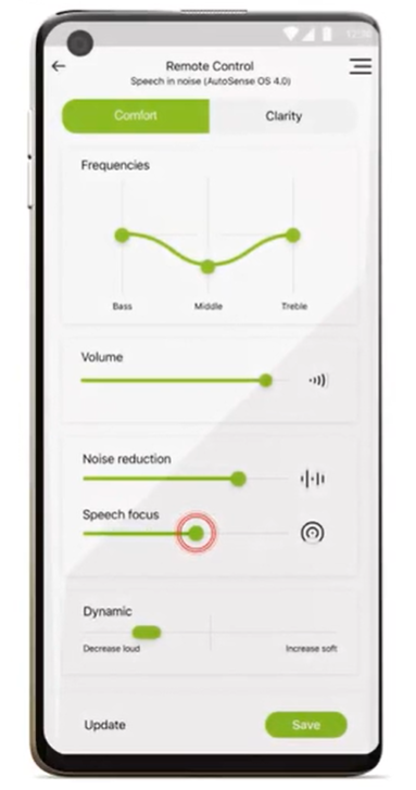 Imagen myPhonak app del nuevo audífono Phonak Paradise